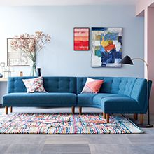 Living room : Stunning Modular Sofa Furniture Design Ideas With Blue Fabric Sofa Sets Also Colorful Striped Wool Rug And Black Cone Arc Floor Lamp Besides Gray Tile Ceramic Flooring Stunning Modular Sofa Furniture Design Ideas Modular Sofa Furniture. Gebogenes Sofa, Sofa Uk, Sofa Furniture, Living Room Furniture, Modern Furniture, Living Room Decor, Furniture Design, Sectional Sofas, Round Sectional