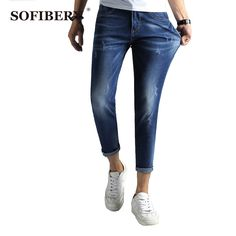 42.80$  Know more - http://aiyi8.worlditems.win/all/product.php?id=32706523604 - SOFIBERY Ankle Jeans Men light blue Wash White Denim Slim Fit Jeans for Men Soft Comfort Jeans Trousers Pants for Men M1025-367
