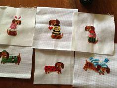 Dacshund year round mini stitches stitched by Taeko. Very cute!