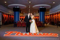 cool wedding picture in locker room at Phillies stadium