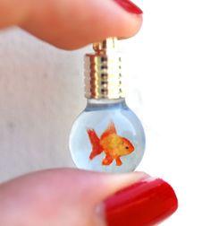 Tiny Gold/Orange Goldfish in Glass Bulb Vial by BottledUpShop