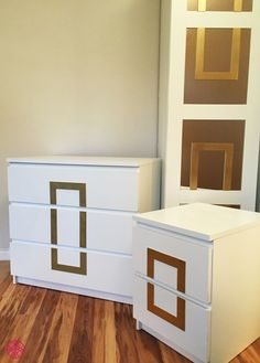 Sometimes you just have to flip things around to get the look you want. Here we used the Rex O'verlay flipped vertically and cut into pieces to create a new modern look on an Ikea two and three drawer Malm and a Pax door.