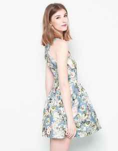 FLORAL PRINT NEOPRENE DRESS WITH FULL SKIRT - DRESSES - WOMAN - PULL&BEAR Malaysia