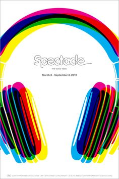 The reason I chose this poster is because it displays a range of colours blended around the image of the headphone.