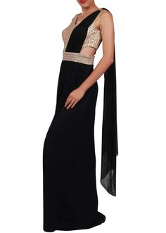 Navy blue saree gown adorn in sequin and kundan embroidery only on Kalki - Kalkifashion.com
