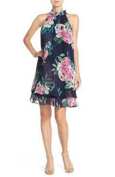 Eliza J Floral Print Chiffon Trapeze Dress available at #Nordstrom