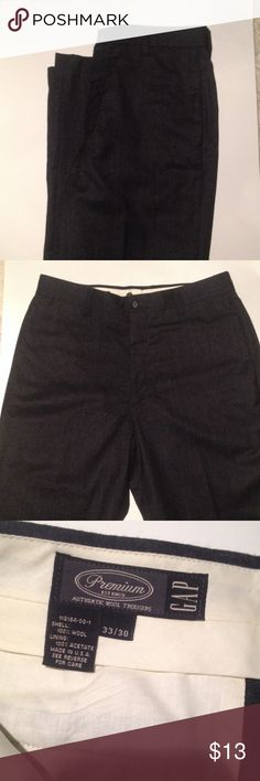 Men's 100% wool on any from The Gap Plain front 100% wool pants from The Gap. Beautiful charcoal color will be perfect for cool weather. GAP Pants Dress
