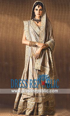 Beige Verock, Product code: DR3119, by www.dressrepublic.com - Keywords: Mehreen Syed Bridal Dresses, Mehreen Sayed Lehenga, Sharara, Gharara Bridal Couture Week