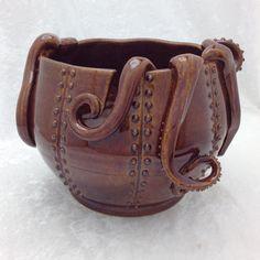 Brown Tentacle Yarn Bowl by KilikaDesigns on Etsy,
