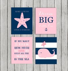50% OFF.Baby girl nursery decor Navy pink by OnlyPrintableArts