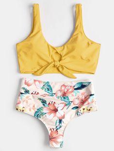 20dadad21c8 High Rise Knotted Floral Scrunch Bikini Swimwear