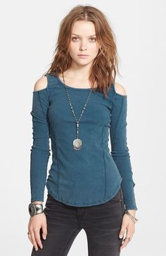 Free People 'Prima Ballerina' Cold Shoulder Knit Top available at #Nordstrom