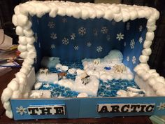 Science diorama - The Arctic Ocean Projects, Science Projects, School Projects, Projects For Kids, Crafts For Kids, Project Ideas, Arctic Fox Habitat, Bear Habitat, Ocean Diorama