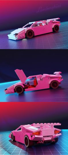 For quite a while I wanted to make a picture with that retro vibe in it that would include the Countach and finally managed to make it! As always a scale model with functional doors, rear hatch and removable Lego Police, Lego Military, Lego Robot, Lego Man, Lego Sets, Lego Cars Instructions, Lego Wheels, Lego Display, Legos