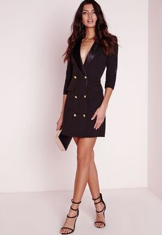 Look fierce this season in this Black blazer dress. In a figure flattering fabric this black number with long sleeves, pocket front, silk collar and gold button feature is seriously chic. Team with black strappy heels and matching clutch fo. Petite Outfits, Mode Outfits, Dress Outfits, Fashion Outfits, Petite Clothes, Classy Clothes, Office Outfits, Tux Dress, Blazer Dress