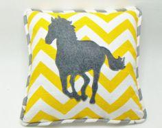 Horse Pillow Throw pillow Cover / yellow chevron / Horse