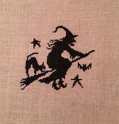 Witch On Broom Cross Stitch Completed by jackwabbitprimitives