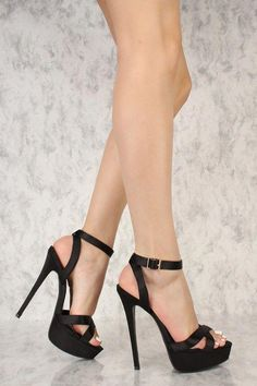 Perfect heels to have all eyes on you! Features include, a satin fabric texture, criss cross ope toe, ankle strap with a side buckle closure, and a cushioned foot bed. Approximately a 6 inch heel and a 2 inch platform. Platform High Heels, Black High Heels, High Heel Boots, High Heel Pumps, Pumps Heels, Stiletto Heels, Ankle Strap High Heels, Ankle Straps, Beautiful High Heels