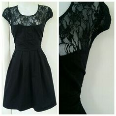 Modcloth Black Classy Aline Lace Dress Lace detail. Worn once. Great condition. ModCloth Dresses
