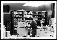 Suzy Chesser packing in Cataloging Department of Ohio University's Chubb Library, 1969.
