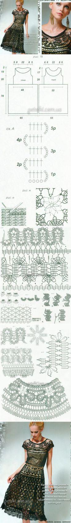 Dress in technology Bruges lace. knitting Schemes description