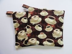 Set of two potholders in coffee cup and by TheScatteredArtisan, $12.00