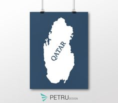 Qatar print - Qatar art - Qatar poster - Qatar wall art - Qatar printable poster - Qatar map - Qatar navy art - Instant download by Exit8Creatives on Etsy