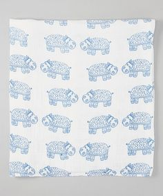 """Another great find on #zulily! 47"""" x 47"""" White & Blue Hippo Organic Swaddling Blanket by Bambino Land #zulilyfinds"""