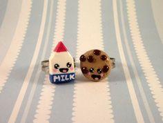 BFF Milk and Cookie Rings by AGirlandHerClay, $10.50