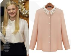 Find More Blouses & Shirts Information about 2014 New Women Fashion Solid Vintage Chiffon Shirts Lady Long Sleeve lace diamonds turn down collar student Tops and Blouses,High Quality Blouses & Shirts from Queen Of My Heart on Aliexpress.com