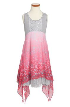Free shipping and returns on Truly Me Empire Waist Mixed Media Dress (Big Girls) at Nordstrom.com. Sequined tulle provides sparkle to a sleeveless dress fashioned with a flowy split-handkerchief overlay brightened by bubblegum-pink hues.