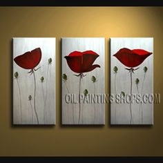 Large Wall Decorating Ideas Oil Painting On Canvas Panels Gallery Stretched Poppy Flower. This 3 panels canvas wall art is hand painted by Bo Yi Art Studio, instock - $108. To see more, visit OilPaintingShops.com