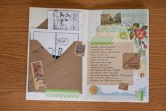 "A ""smash card"" -- very creative. Little folded book of notes. Cut outs, cartoons, print outs, washi tape, little letter of a few sentences. Pen Pal Letters, Pocket Letters, Snail Mail Pen Pals, Snail Mail Gifts, Mail Art Envelopes, Envelope Art, Handwritten Letters, Creative Journal, Happy Mail"
