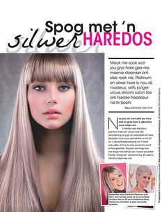 Colour your hair grey/silver and combine with straight #hair & thick #bangs | Kleur jou hare grys & kombineer met pylreguit hare & 'n dik kuif #TrendsHighTea #hairstyle @natasha_flashvW