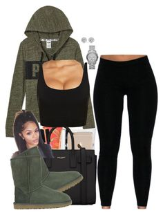 """""""Hol' Up"""" by westindieee ❤ liked on Polyvore featuring Bobbi Brown Cosmetics, La Perla, Yves Saint Laurent, UGG Australia and Michael Kors"""