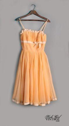 1950's Sweet Peach Party Dress - S