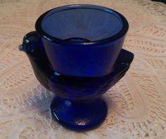 Vtg Cobalt Blue Chicken Egg Cup Holder France Art Glass Hen Easter Chick 28 ARC
