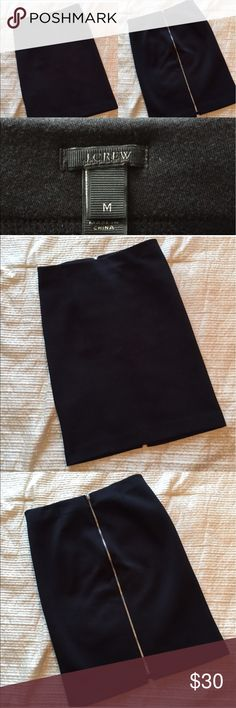 """J. Crew Zip Up Pencil Skirt in Black EUC! Bought this perfect work skirt from another posher but I need a different size. Stretchy and flattering, this skirt has a full silver zipper up the back. 24"""" long. Make me an offer! J. Crew Skirts Pencil"""