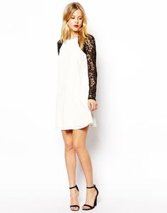 Asos White Swing Dress with Contrast Lace  UK Size:10  EU Size:38 RRP £35.00