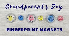 Fingerprint Magnet Craft for Kids - Creativity Connection Watch and learn how to create magnets for Grandma and Grandpa! They are the perfect Grandparent's Day craft for preschoolers, big kids and adults! Diy Mothers Day Gifts, Fathers Day Crafts, Spring Crafts For Kids, Fall Crafts, Big Kids, Craft Gifts, Diy Gifts, Grandparents Day Cards, Preschool Crafts