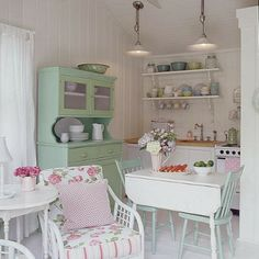 greens and pinks in the kitchen