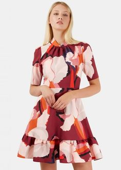 Multi Floral High Collar Frill Hem Dress - Dresses - Clothing