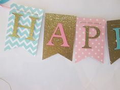 Pink teal and glitter gold Happy birthday por Cresscreativecrafts