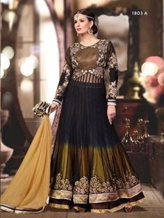 Look Stunning in this Heavily Embroidered Thread and Jari work Black and Golden Georgette Anarkali dress. Comes along with Santoon Bottom and Chiffon Dupatta