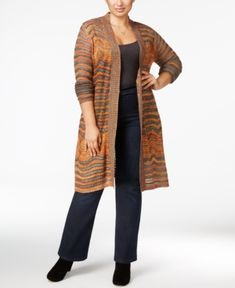 Belldini Plus Size Marled Pointelle Duster Cardigan -