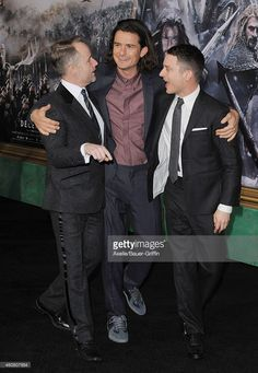 Actors Billy Boyd, Orlando Bloom and Elijah Wood arrive at the Los Angeles premiere of 'The Hobbit: The Battle Of The Five Armies' at Dolby Theatre on December 9, 2014 in Hollywood, California.