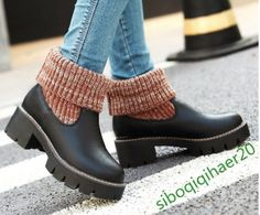 Ankle Boots  Fashion Women'S Casual Shoes Block Retro Hot Winter Warm Weave