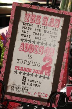 Cowgirl Invitation...love!