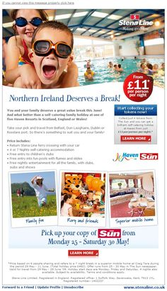Self-catering breaks email marketing campaign.