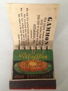 Vtg Feature Matchbook Gammon's Waffles Cocktails Pittsburgh PA | eBay
